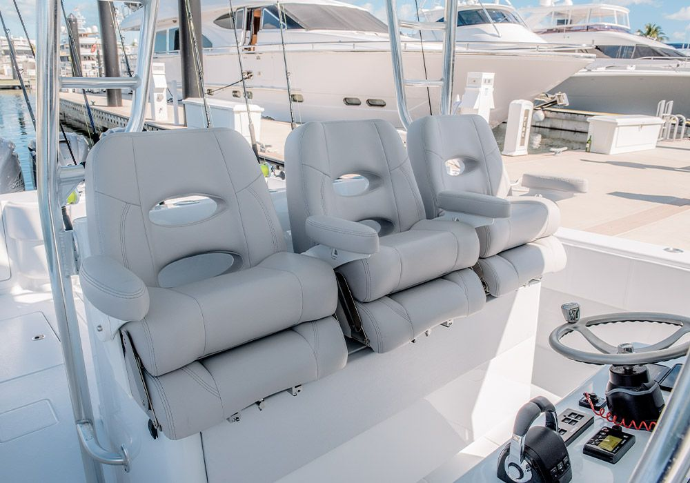 Three-across helm seating offers the option to sit or stand at the controls.
