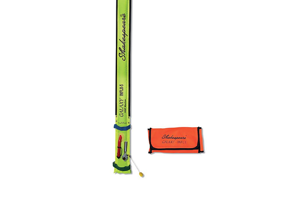 "Shakespeare's Galaxy INFL8, an emergency inflatable VHF antenna, comes in an easy-to-stow pouch and inflates to 5 feet with 3 db gain. It inflates with a CO2 cartridge or a manual tube, and comes with a PL-259 connector for a fixed-mount VHF, or a handheld VHF via an SMA adapter. Hook-and-loop straps and grommets on the top and bottom make it easy to secure to hardtops. $149.95; <a href=""http://www.shakespeare-ce.com"" rel=""nofollow"" title=""shakespeare-ce.com"">shakespeare-ce.com</a>"