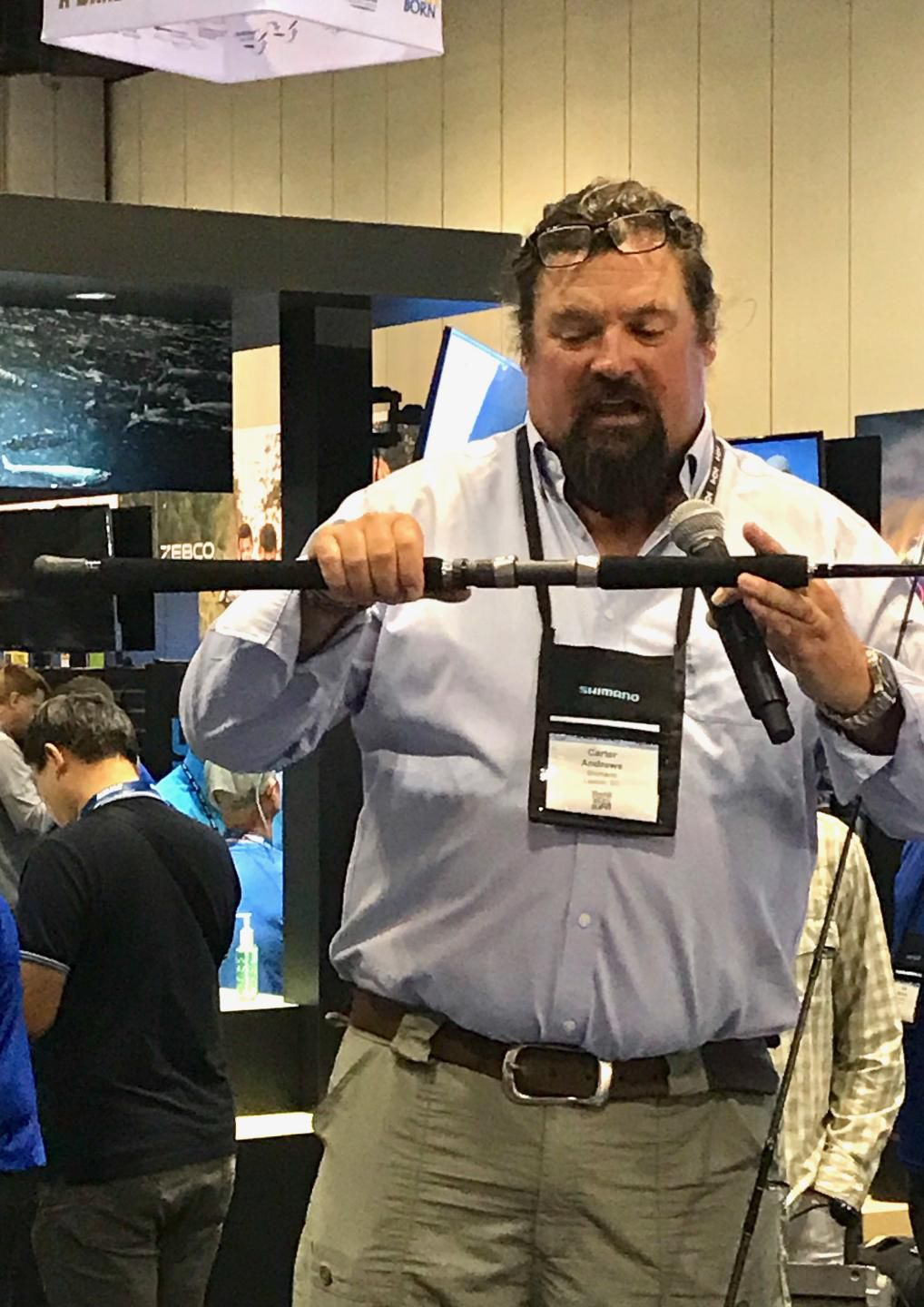 TV personality and Salt Water Sportsman contributor Carter Andrews shows off Shimano's improved Terez series rods.