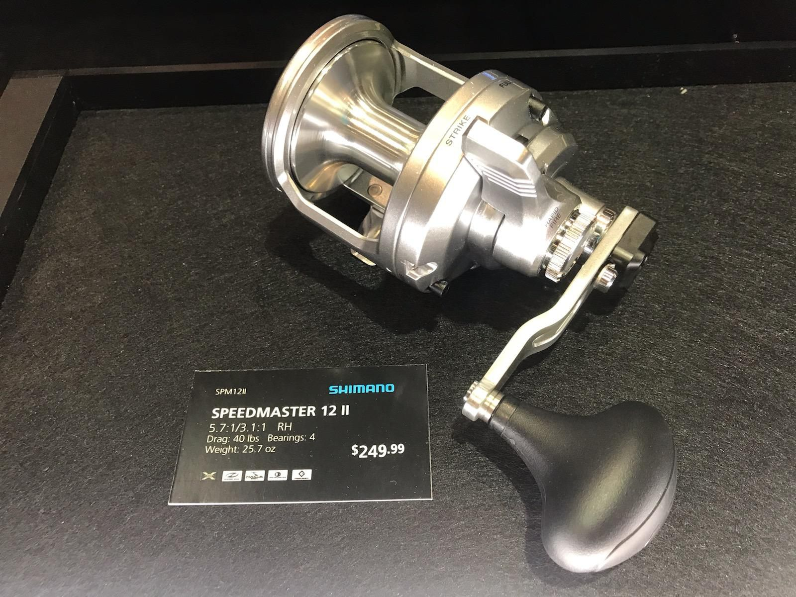 Shimano's new Speedmaster reel will be available in 2 sizes: 12 and 16 class, featuring 2 speeds and lever drag with 40 pounds of stopping power.