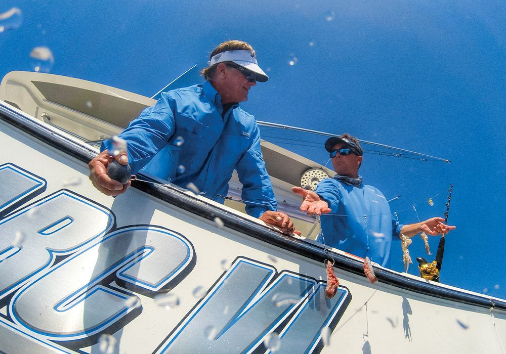 A long leader with baits on dropper lines covers tilefish habitat.