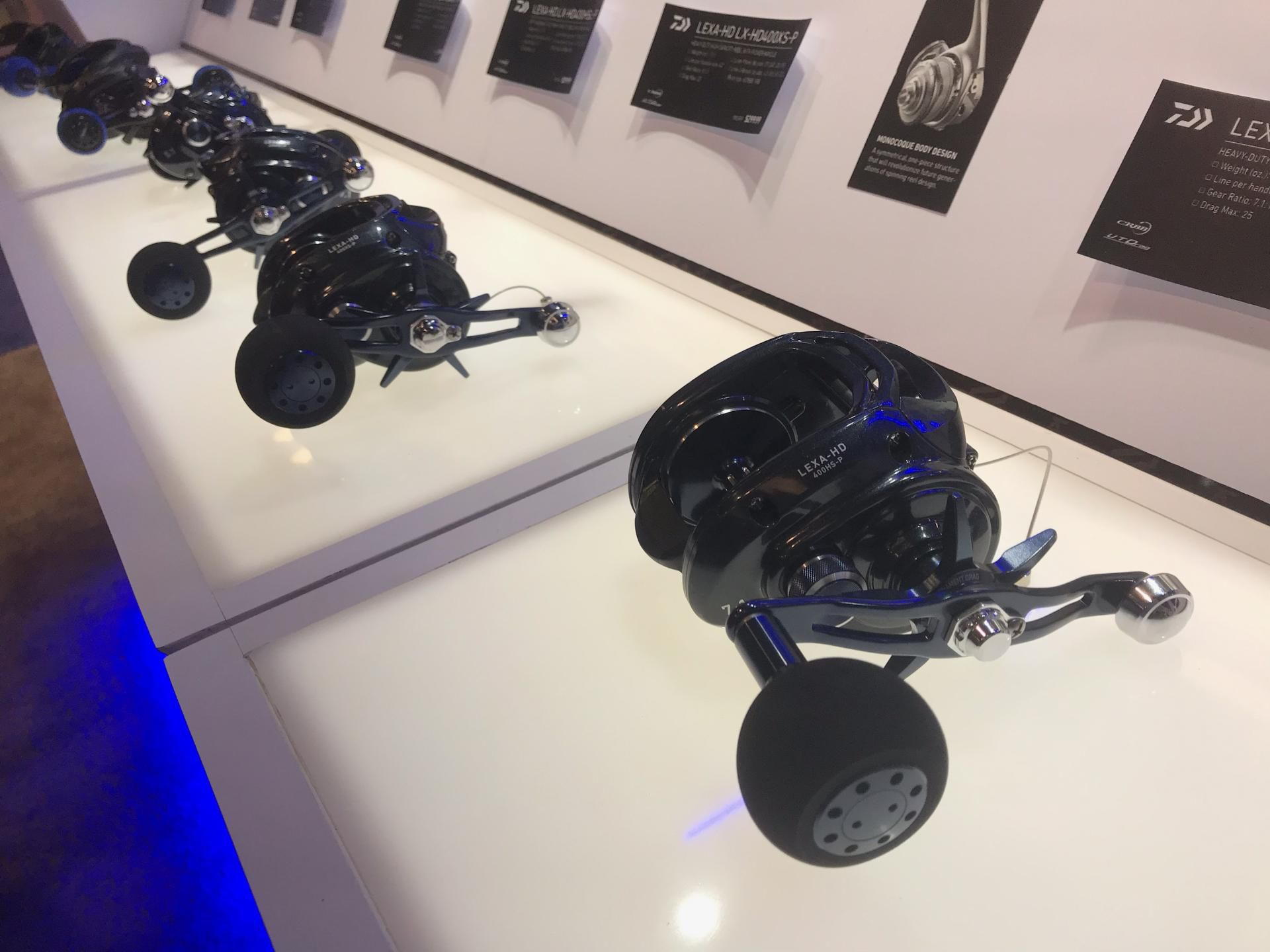 Daiwa's new Lexa HD heavy-duty, high-capacity reels are tough, versatile options to cover a number of applications from jigging to live-baiting. Available in several sizes and 4 retrieve ratios: 5.1:1, 6.3:1, 7.1:1 and 8.1:1.
