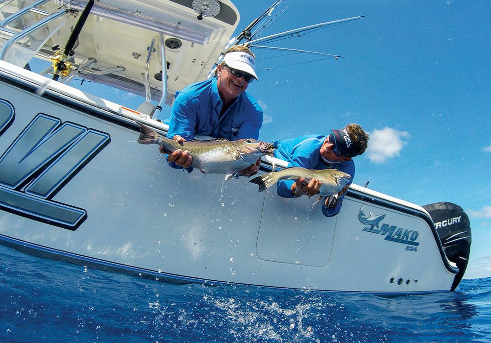 A pair of blueline tilefish comes aboard after a long journey up from the bottom.