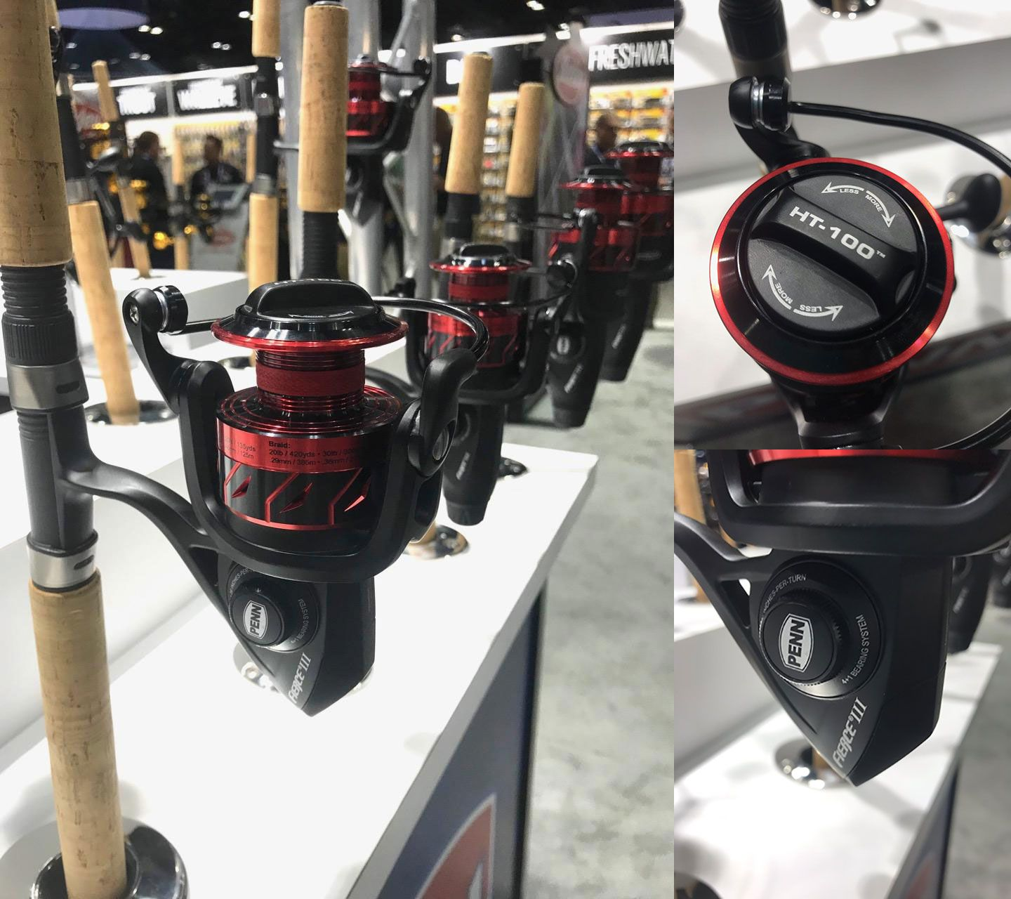 The 3rd generation of Penn's Fierce spinning reels (soon available in a wide range of sizes) incorporate HT-100 drag washers and various higher-end features at a moderate price.