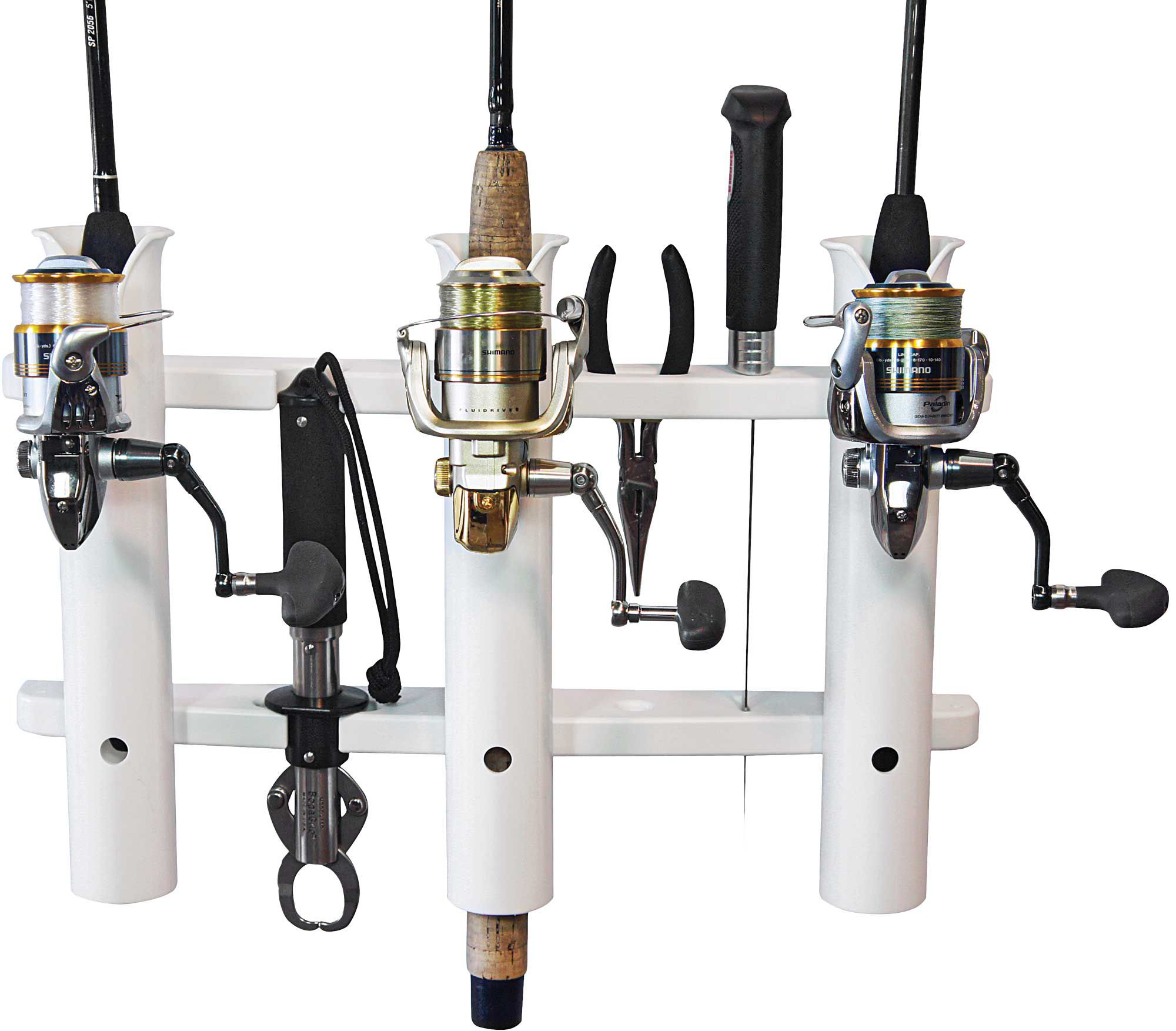 Vertical rod racks take up little room, and are easy to mount on a bulkhead or console.