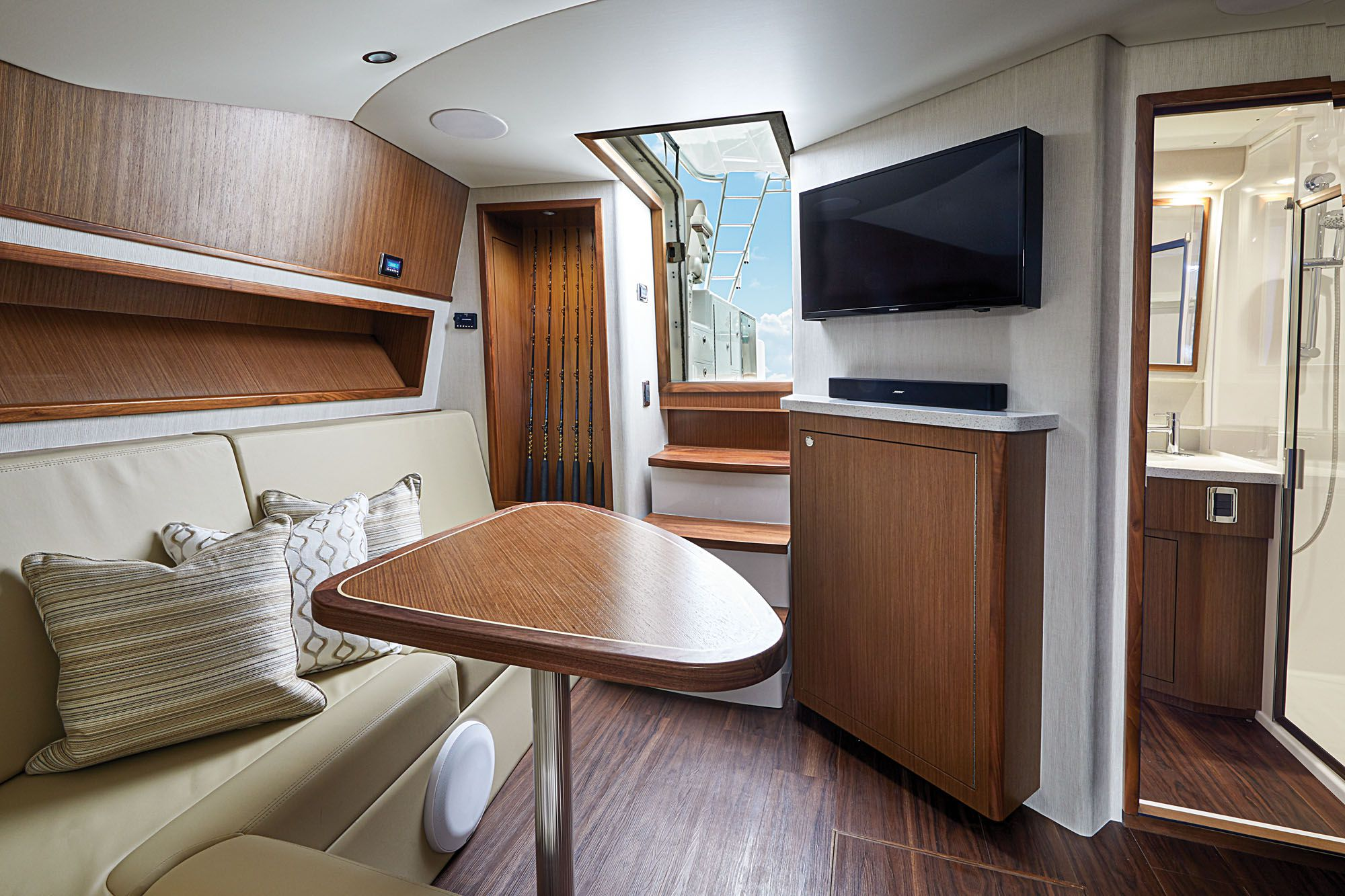 A step-down companionway leads to a posh salon, galley and forward master stateroom.
