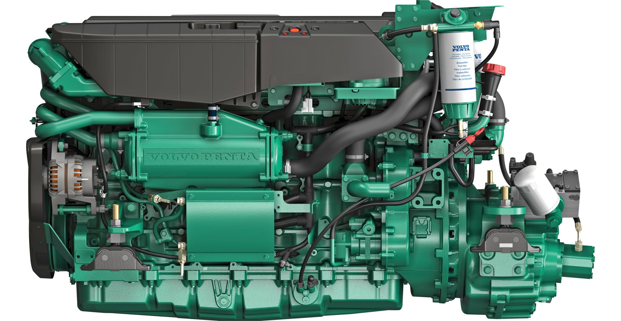 The Cabo 41 features Volvo Penta D11 inline-six-cylinder turbo-diesel inboards. Base engine output is 625 hp per 10.8-liter-displacement diesel.