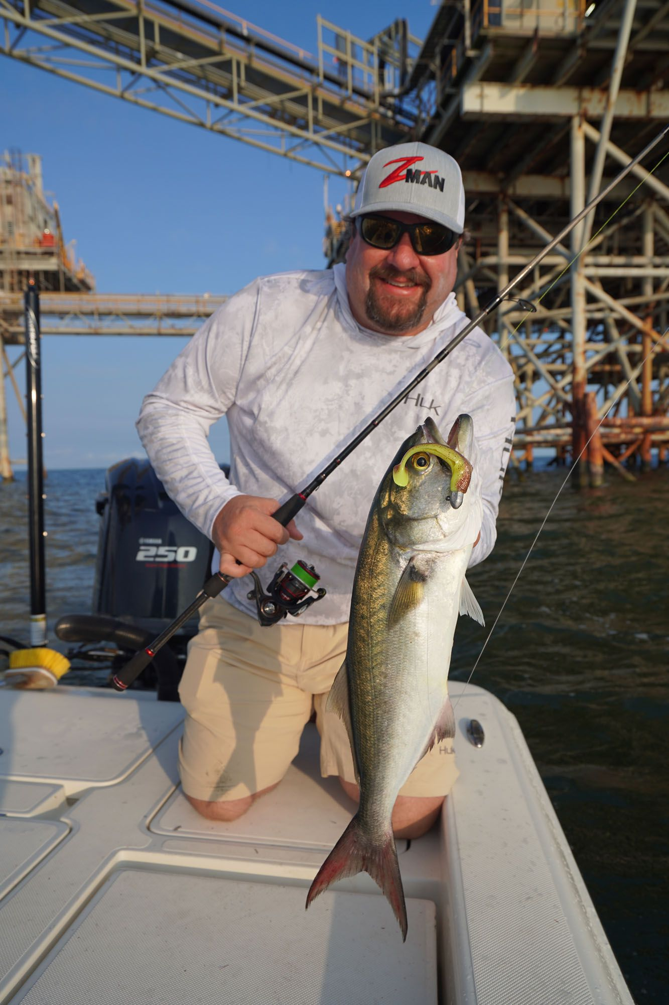 After suffering some aggravating cut-offs, Prochazka — Z-Man's national sales manager — managed to hook a good bluefish in the jaw and land the fish. It went for one of Prochazka's faves, a 5-inch DieZel MinnowZ in a sexy penny color.