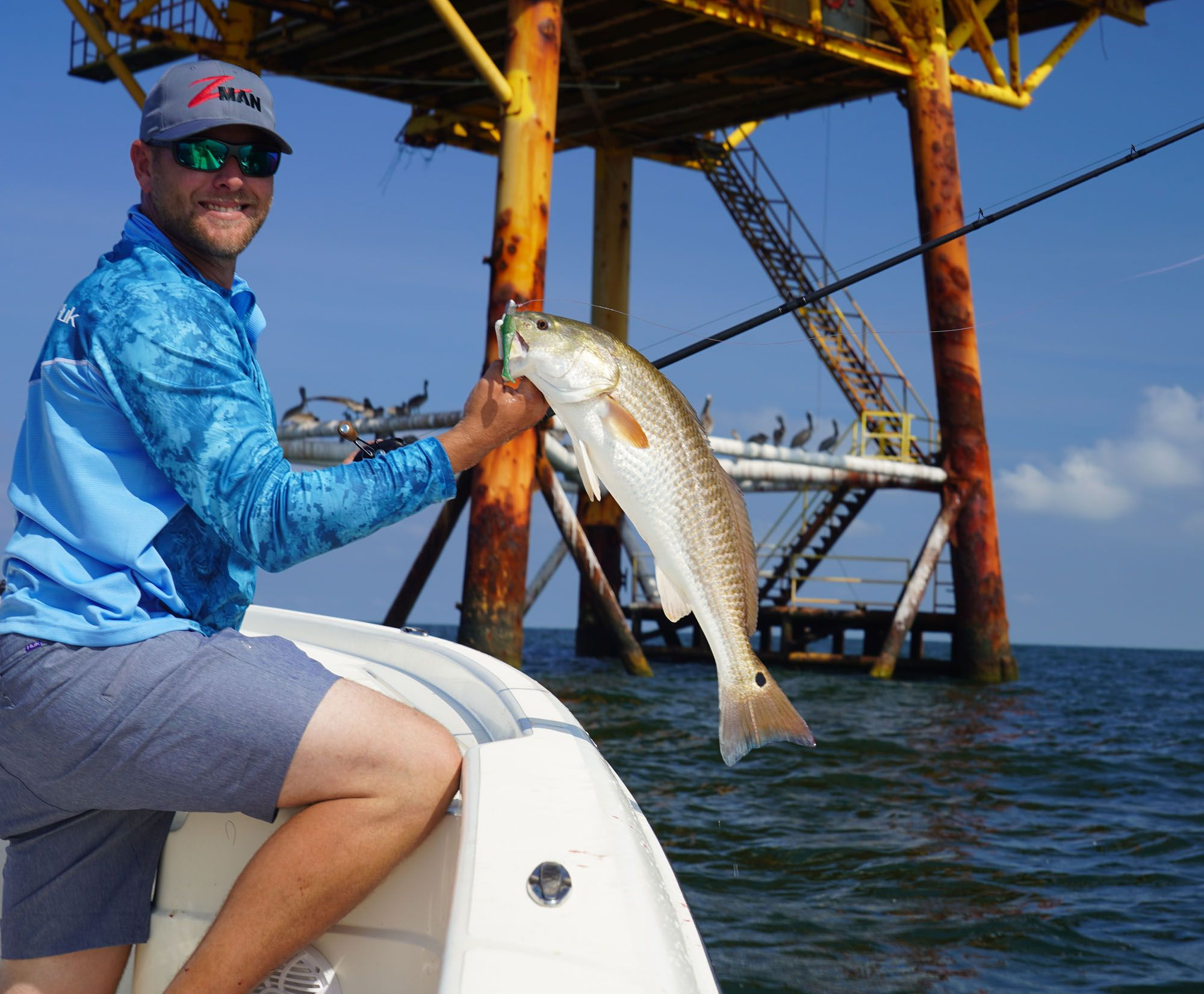 Our captain helps the cause, showing that redfish can abound at these nearshore rigs, also.