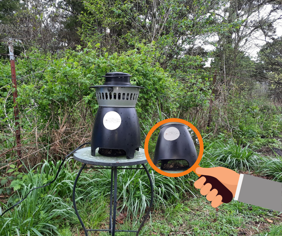 Shown: The Ambush Mosquito Trap set on the wooded edge of our property line, dutifully catching the various stinging and biting insects that normally plague us each spring!
